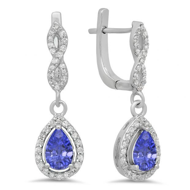 1.30 Carat (ctw) 18K White Gold Pear Cut Tanzanite & Round Cut White Diamond Ladies Halo Style Dangling Drop Earrings