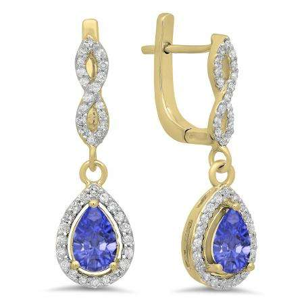 1.30 Carat (ctw) 18K Yellow Gold Pear Cut Tanzanite & Round Cut White Diamond Ladies Halo Style Dangling Drop Earrings