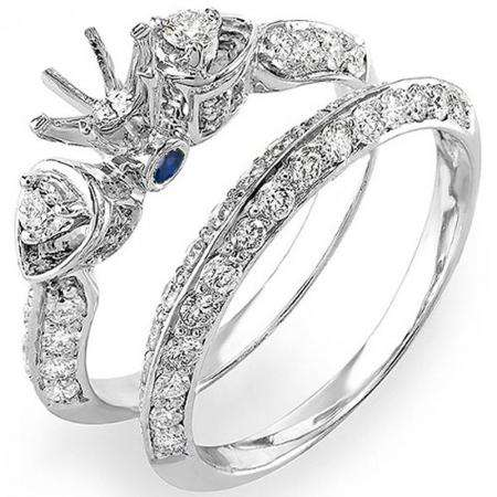 1.20 Carat (ctw) 10K White Gold Round Blue Sapphire & White Diamond Ladies Semi Mount Bridal Engagement Ring Set 1 1/4 CT (No Center Stone)