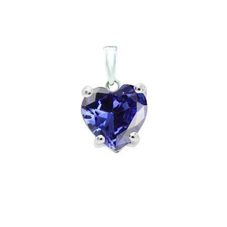 0.65 Carat (ctw) 18K White Gold Heart Cut Tanzanite Ladies Heart Shaped Pendant