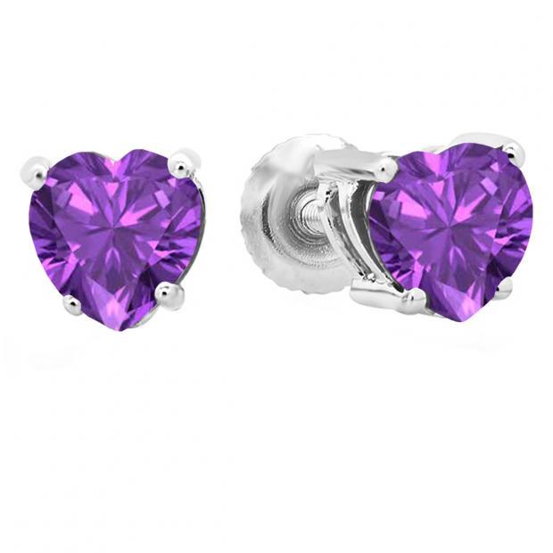 1.00 Carat (ctw) 18K White Gold Heart Shape Natural Amethyst Ladies Stud Earrings 1 CT