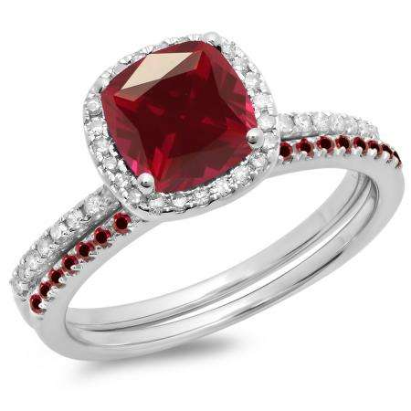 1.75 Carat (ctw) 14K White Gold Cushion & Round Cut Ruby & Round Cut White Diamond Ladies Bridal Halo Engagement Ring With Matching Band Set 1 3/4 CT