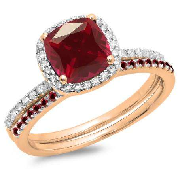 1.75 Carat (ctw) 18K Rose Gold Cushion & Round Cut Ruby & Round Cut White Diamond Ladies Bridal Halo Engagement Ring With Matching Band Set 1 3/4 CT