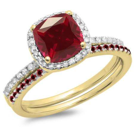 1.75 Carat (ctw) 18K Yellow Gold Cushion & Round Cut Ruby & Round Cut White Diamond Ladies Bridal Halo Engagement Ring With Matching Band Set 1 3/4 CT