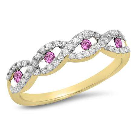 0.28 Carat (ctw) 18K Yellow Gold Round Pink Sapphire & White Diamond Ladies Bridal Stackable Anniversary Wedding Band Swirl Ring 1/4 CT