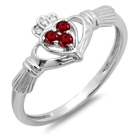 0.15 Carat (Ctw) 10k White Gold Round Garnet & White Diamond Ladies Bridal Promise Irish Love And Friendship Band Claddagh Heart Shape Ring