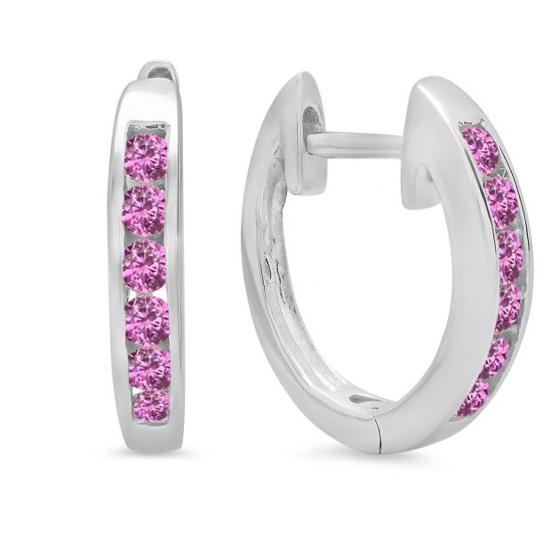 0.36 Carat (ctw) 10k White Gold Round Pink Sapphire Ladies Huggie Hoop Earrings 1/3 CT