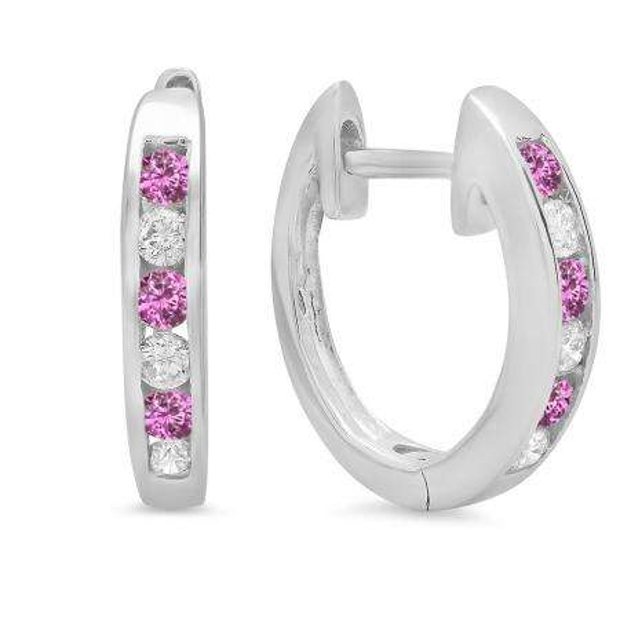 0.36 Carat (ctw) 18k White Gold Round Pink Sapphire & White Diamond Ladies Huggie Hoop Earrings 1/3 CT