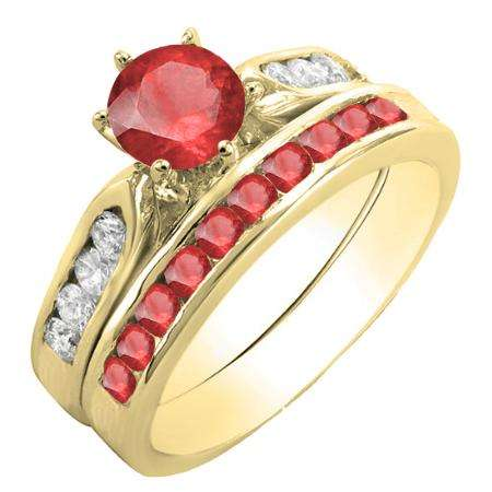 1.00 Carat (ctw) 18K Yellow Gold Round Red Ruby & White Diamond Ladies Bridal Engagement Ring Set With Matching Band 1 CT