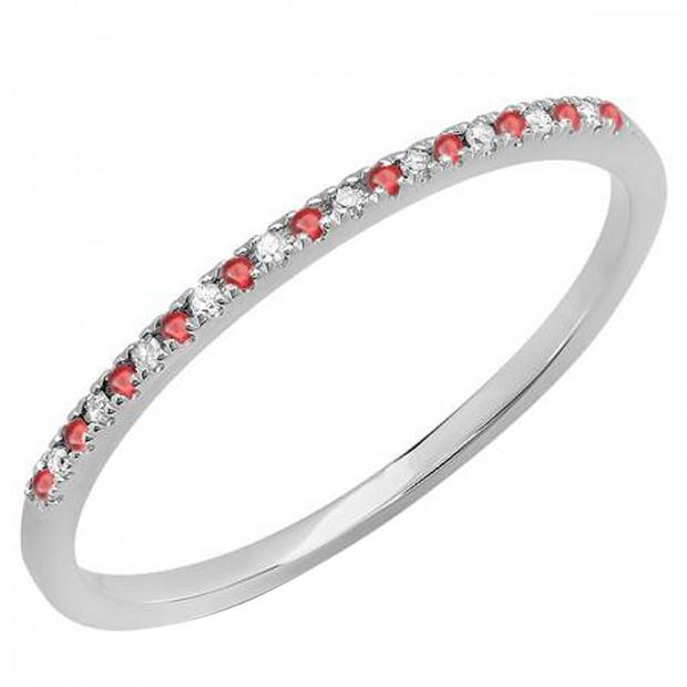0.10 Carat (ctw) 10K White Gold Round Ruby & White Diamond Ladies Dainty Anniversary Wedding Band Stackable Ring 1/10 CT