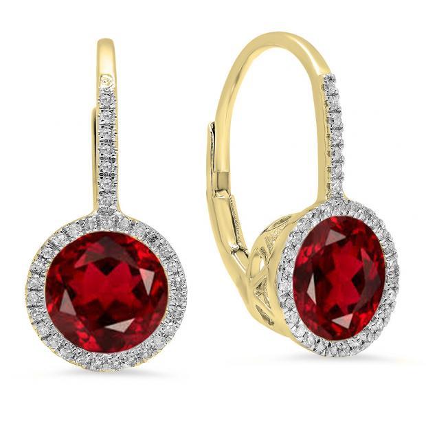 3.70 Carat (ctw) 18K Yellow Gold Round Cut Garnet & White Diamond Ladies Halo Style Dangling Drop Earrings