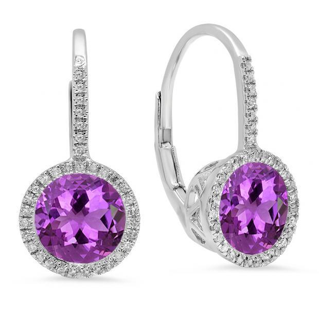 3.70 Carat (ctw) 10K White Gold Round Cut Amethyst & White Diamond Ladies Halo Style Dangling Drop Earrings