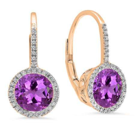 3.70 Carat (ctw) 18K Rose Gold Round Cut Amethyst & White Diamond Ladies Halo Style Dangling Drop Earrings