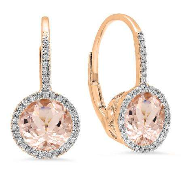 3.70 Carat (ctw) 14K Rose Gold Round Cut Morganite & White Diamond Ladies Halo Style Dangling Drop Earrings
