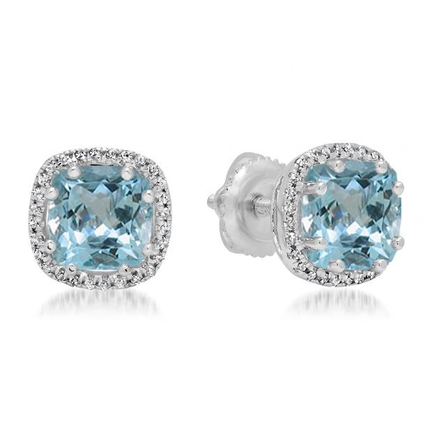 2.40 Carat (ctw) 10K White Gold Cushion Cut Aquamarine & Round Cut White Diamond Ladies Halo Style Stud Earrings