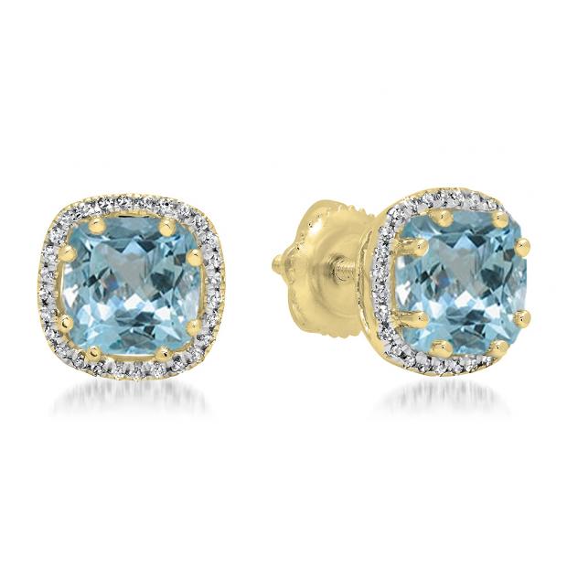2.40 Carat (ctw) 10K Yellow Gold Cushion Cut Aquamarine & Round Cut White Diamond Ladies Halo Style Stud Earrings