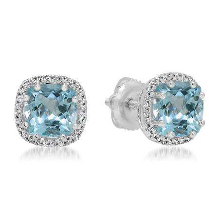 2.40 Carat (ctw) 18K White Gold Cushion Cut Aquamarine & Round Cut White Diamond Ladies Halo Style Stud Earrings