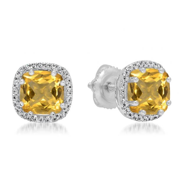 2.40 Carat (ctw) 14K White Gold Cushion Cut Citrine & Round Cut White Diamond Ladies Halo Style Stud Earrings