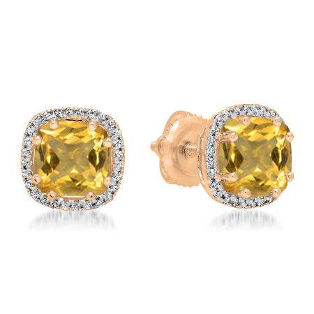 2.40 Carat (ctw) 18K Rose Gold Cushion Cut Citrine & Round Cut White Diamond Ladies Halo Style Stud Earrings