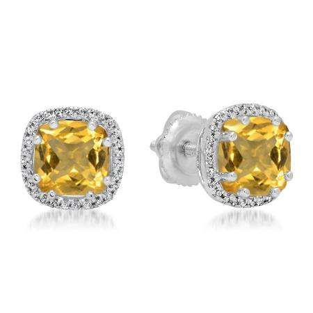 2.40 Carat (ctw) 18K White Gold Cushion Cut Citrine & Round Cut White Diamond Ladies Halo Style Stud Earrings