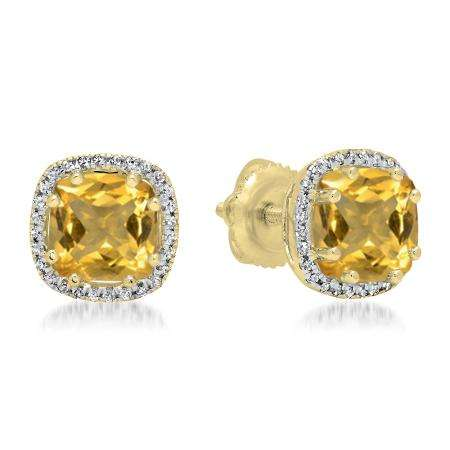 2.40 Carat (ctw) 18K Yellow Gold Cushion Cut Citrine & Round Cut White Diamond Ladies Halo Style Stud Earrings