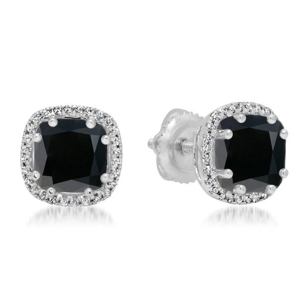 2.40 Carat (ctw) 10K White Gold Cushion Cut Black Diamond & Round Cut White Diamond Ladies Halo Style Stud Earrings