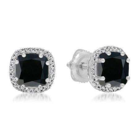 2.40 Carat (ctw) 14K White Gold Cushion Cut Black Diamond & Round Cut White Diamond Ladies Halo Style Stud Earrings