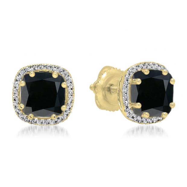 2.40 Carat (ctw) 14K Yellow Gold Cushion Cut Black Diamond & Round Cut White Diamond Ladies Halo Style Stud Earrings