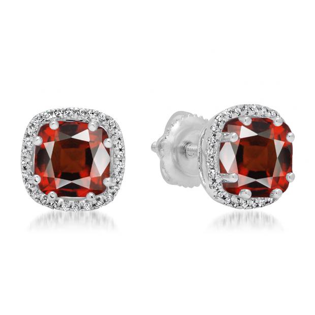2.40 Carat (ctw) 10K White Gold Cushion Cut Garnet & Round Cut White Diamond Ladies Halo Style Stud Earrings