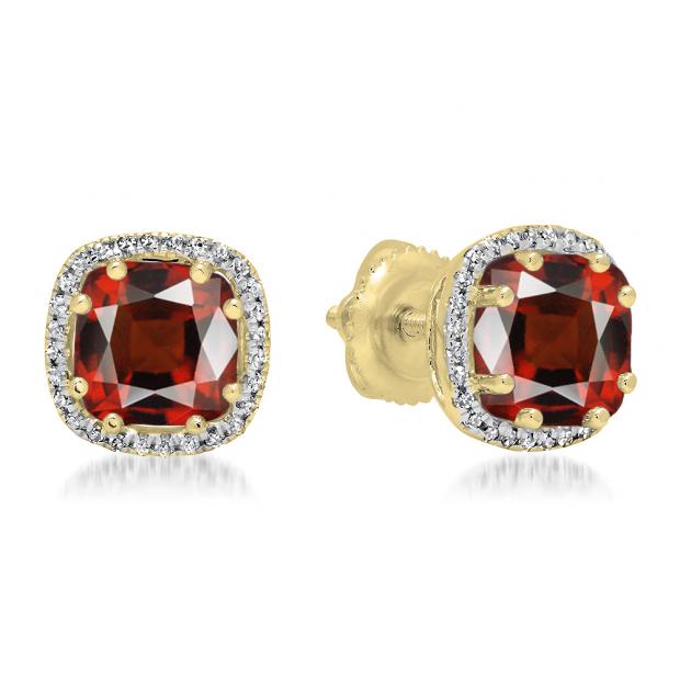 2.40 Carat (ctw) 18K Yellow Gold Cushion Cut Garnet & Round Cut White Diamond Ladies Halo Style Stud Earrings