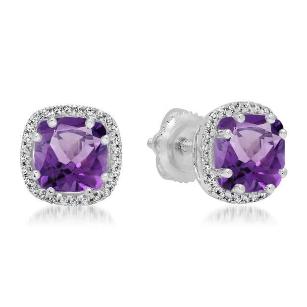 2.40 Carat (ctw) 10K White Gold Cushion Cut Amethyst & Round Cut White Diamond Ladies Halo Style Stud Earrings