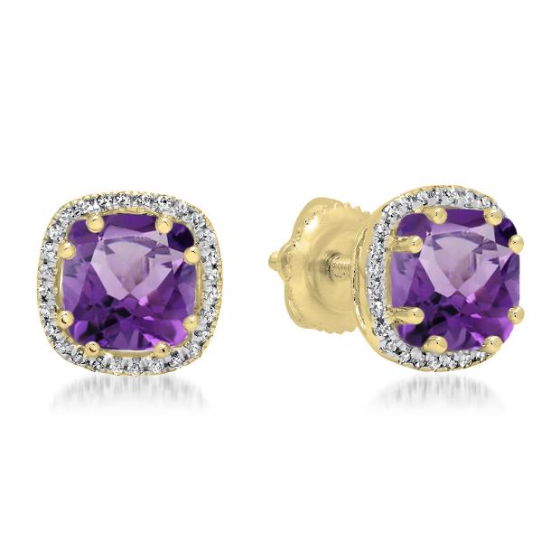 2.40 Carat (ctw) 10K Yellow Gold Cushion Cut Amethyst & Round Cut White Diamond Ladies Halo Style Stud Earrings