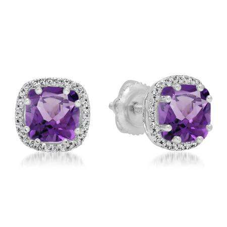 2.40 Carat (ctw) 14K White Gold Cushion Cut Amethyst & Round Cut White Diamond Ladies Halo Style Stud Earrings