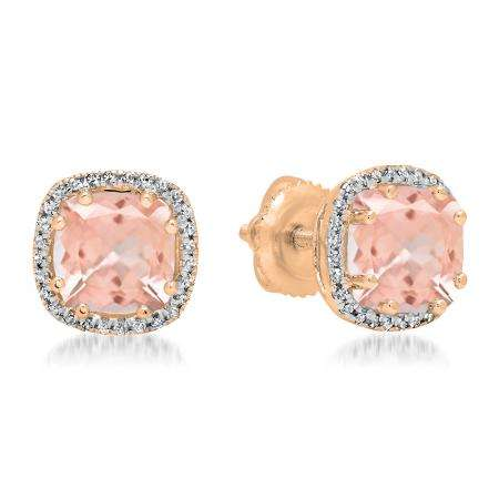 2.40 Carat (ctw) 18K Rose Gold Cushion Cut Morganite & Round Cut White Diamond Ladies Halo Style Stud Earrings