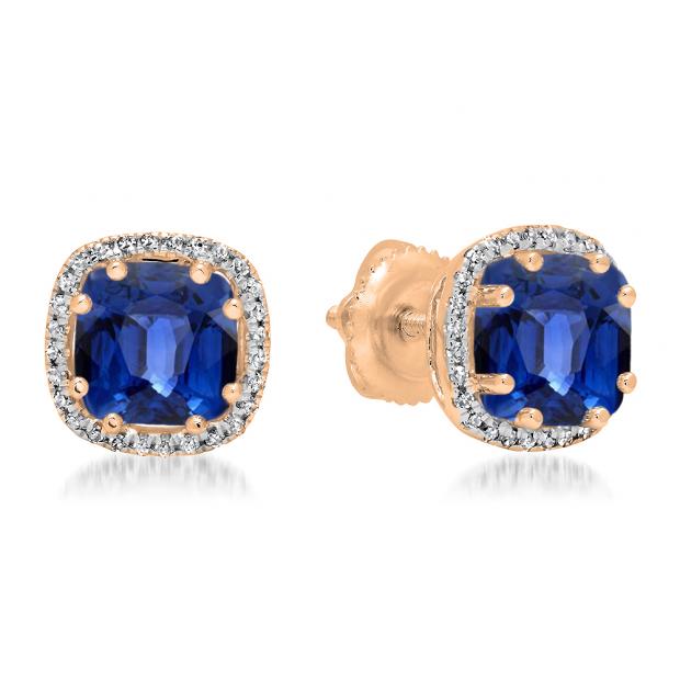 2.40 Carat (ctw) 10K Rose Gold Cushion Cut Blue Sapphire & Round Cut White Diamond Ladies Halo Style Stud Earrings