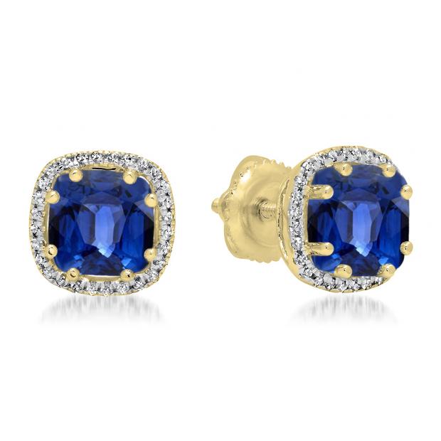 2.40 Carat (ctw) 14K Yellow Gold Cushion Cut Blue Sapphire & Round Cut White Diamond Ladies Halo Style Stud Earrings
