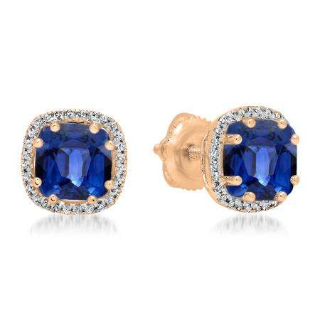 2.40 Carat (ctw) 18K Rose Gold Cushion Cut Blue Sapphire & Round Cut White Diamond Ladies Halo Style Stud Earrings
