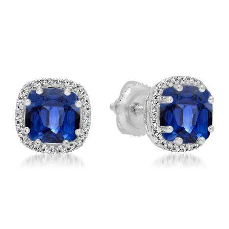 2.40 Carat (ctw) 18K White Gold Cushion Cut Blue Sapphire & Round Cut White Diamond Ladies Halo Style Stud Earrings
