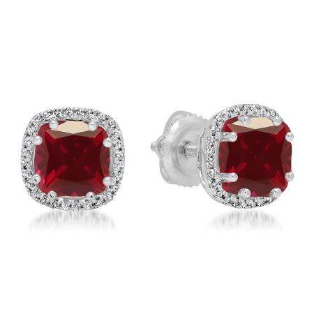2.40 Carat (ctw) 14K White Gold Cushion Cut Ruby & Round Cut White Diamond Ladies Halo Style Stud Earrings