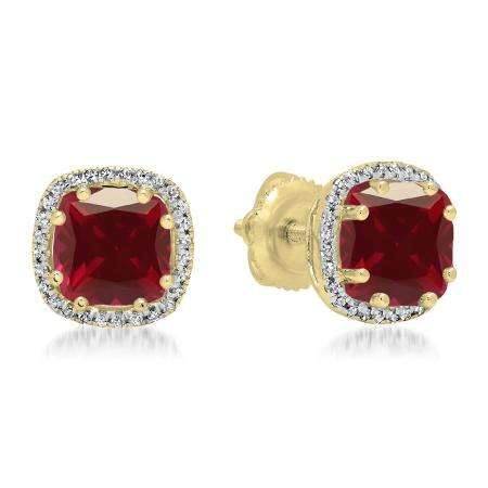 2.40 Carat (ctw) 14K Yellow Gold Cushion Cut Ruby & Round Cut White Diamond Ladies Halo Style Stud Earrings