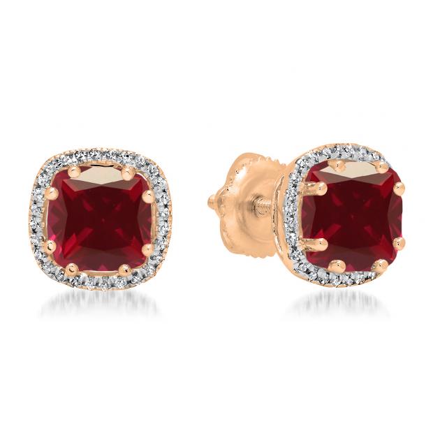2.40 Carat (ctw) 18K Rose Gold Cushion Cut Ruby & Round Cut White Diamond Ladies Halo Style Stud Earrings