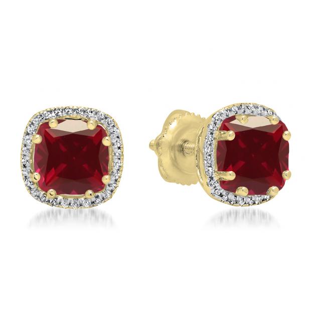 2.40 Carat (ctw) 18K Yellow Gold Cushion Cut Ruby & Round Cut White Diamond Ladies Halo Style Stud Earrings
