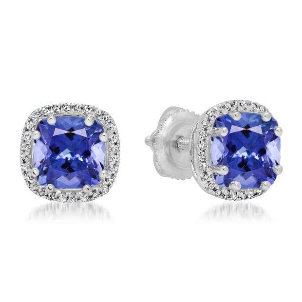 2.40 Carat (ctw) 14K White Gold Cushion Cut Tanzanite & Round Cut White Diamond Ladies Halo Style Stud Earrings