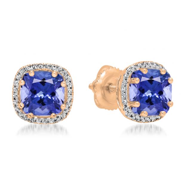 2.40 Carat (ctw) 18K Rose Gold Cushion Cut Tanzanite & Round Cut White Diamond Ladies Halo Style Stud Earrings