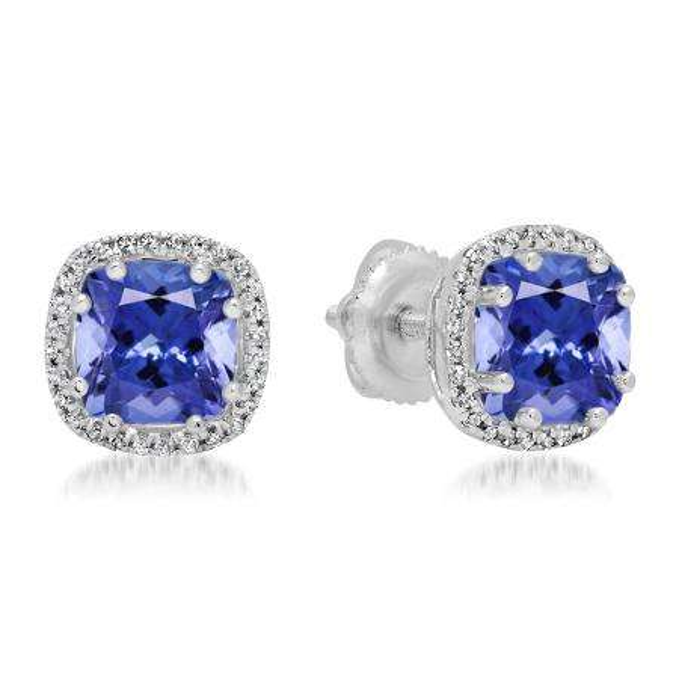 2.40 Carat (ctw) 18K White Gold Cushion Cut Tanzanite & Round Cut White Diamond Ladies Halo Style Stud Earrings