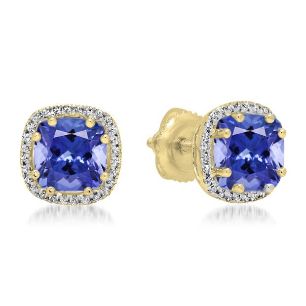 2.40 Carat (ctw) 18K Yellow Gold Cushion Cut Tanzanite & Round Cut White Diamond Ladies Halo Style Stud Earrings