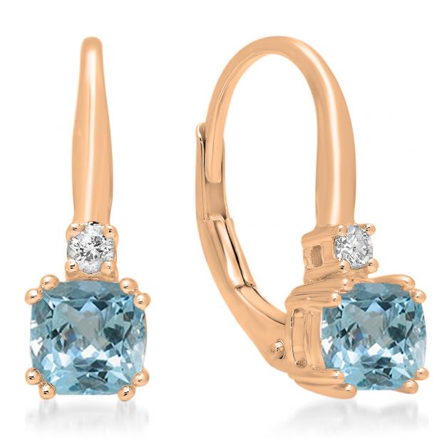 1.05 Carat (ctw) 10K Rose Gold Cushion Cut Aquamarine & Round Cut White Diamond Ladies Dangling Drop Earrings 1 CT