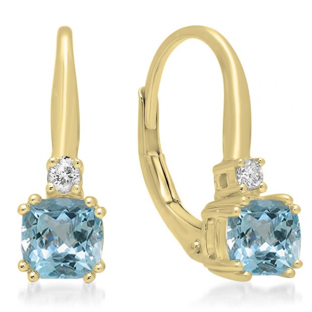 1.05 Carat (ctw) 14K Yellow Gold Cushion Cut Aquamarine & Round Cut White Diamond Ladies Dangling Drop Earrings 1 CT
