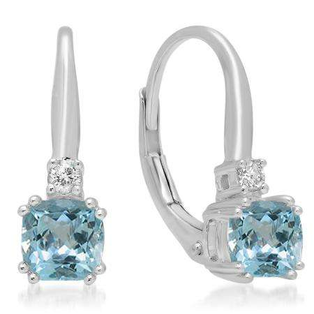 1.05 Carat (ctw) 18K White Gold Cushion Cut Aquamarine & Round Cut White Diamond Ladies Dangling Drop Earrings 1 CT