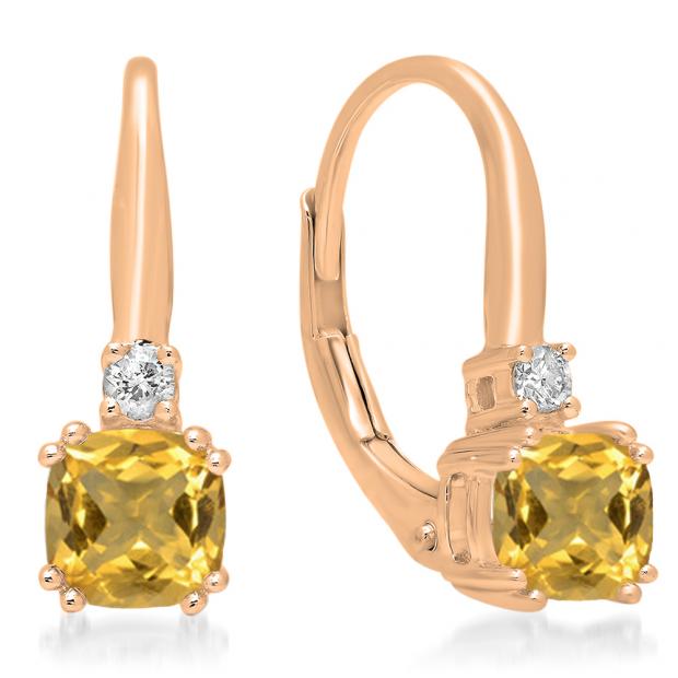 1.05 Carat (ctw) 10K Rose Gold Cushion Cut Citrine & Round Cut White Diamond Ladies Dangling Drop Earrings 1 CT